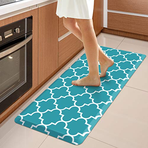 """WISELIFE Kitchen Mat Cushioned Anti-Fatigue Kitchen Rug,17.3""""x 39"""",Non Slip Waterproof Kitchen Mats and Rugs Heavy Duty PVC Ergonomic Comfort Mat for Kitchen, Floor Home, Office, Sink, Laundry, Green"""