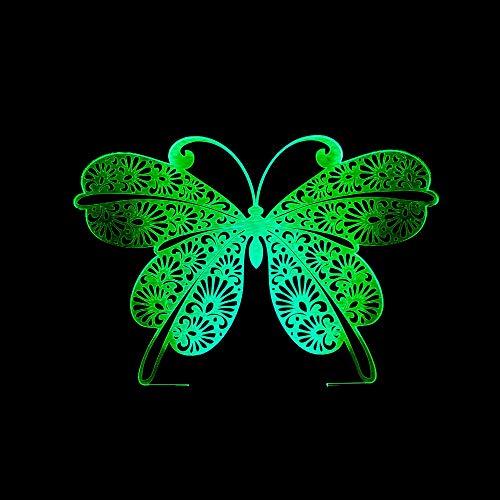DKEE lámpara de mesa lámpara de mesa mariposa 3D noche luz colorida luz visual táctil control remoto dormitorio pequeña lámpara de mesa