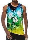 Goodstoworld Funny Tank Tops for Men Junior 3D Flame Skull Sport Workout Shirt Boys Summer Vacation Beach Sleeveless Muscle Tee Small