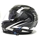 OPRG Casco Moto Integral Carbono ECE Homologado Casco De Moto Scooter para Mujer Hombre Adultos con Doble Visera,E,L(59~60CM)