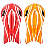 Inflatable Boogie Boards for Kids Swimming Pool Floating Toys, Learn to Swim Water Boards Pack of 2 (Red and Orange)
