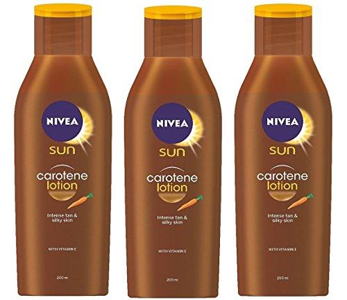 Nivea Sun Carotin Lotion Intense tan & Silky Skin NO SPF (3 x 200ml)