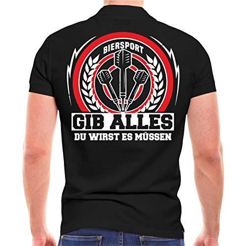Männer und Herren Polo Shirt Dart Gib Alles du wirst es müssen (mit Rückendruck) Größe S - 5XL