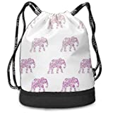 OKIJH Mochila Mochila de Ocio Mochila con cordón Mochila Multifuncional Bolsa de Gimnasio Gymsack Drawstring Bag Sackpack Elephant Sport Cinch Pack Simple Bundle Pocke Backpack For Men Women