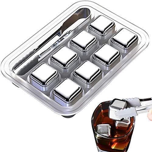 Cubo de hielo de whisky de acero inoxidable de 8 piezas, enfriador de cerveza de vino reutilizable con clip, enfríe su vino mientras lo mantiene sabroso, para cerveza de bebida de vino de whisky