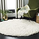 Safavieh Polar Shag Collection PSG800B Solid Glam 3-inch Extra Thick Area Rug, 4' x 4' Round, White