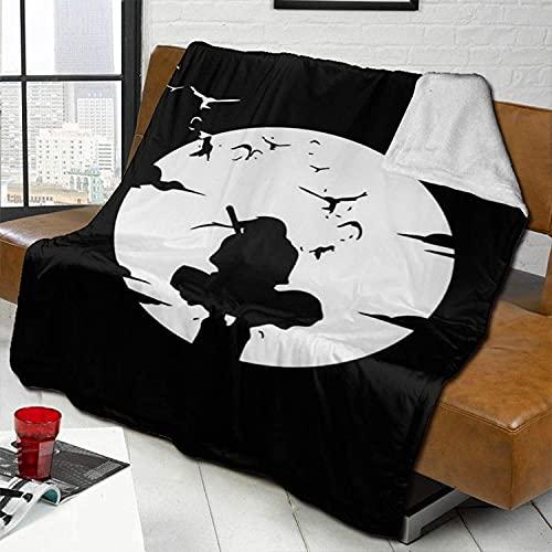 AMCYT Naruto Sasuke Uchiha - Manta cálida de felpa para sofá o salón (lana de cordero, 2,100 x 140 cm)