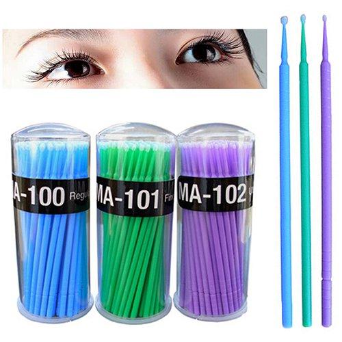 Mascara 100 Applicateurs Jetables D'extension De Cils Micro Brosse Bleu