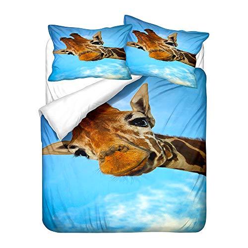 Hiser Bettwäsche-Set 3 Teilig Giraffe Drucken Bettwäsche Set - Mikrofaser Bettbezug & Kissenbezug - 3D Bedrucktes Erwachsene Kinder Bettwäsche-Set (Süße Giraffe,135x200cm)