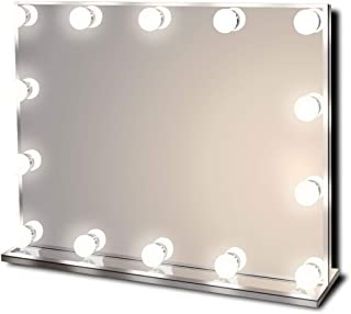 Hollywood Lighted Vanity Makeup Mirror with Bright LED Lights, Light-up Frameless Dressing Table Cosmetic Mirror with 14 Dimmable Bulbs, Multiple Color Modes, Table-Top or Wall Mount, Large