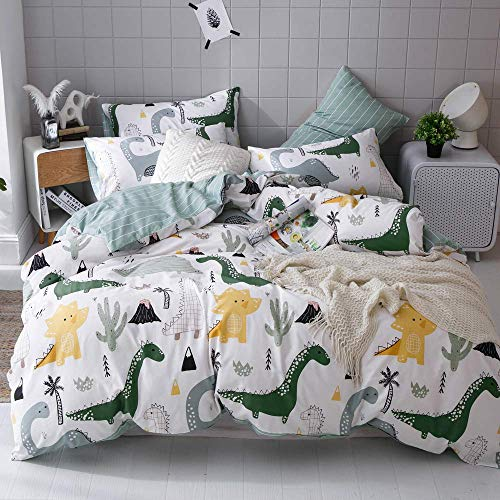 Dinosaur Bedding Toddler Bed Set White Boys Twin Bedding Set Premium Cotton Comforter Cover Twin with 2 Pillow Shams for Kids Teens Allergy Protector Duvet Cover Twin Cactus Quilt Cover, No Comforter