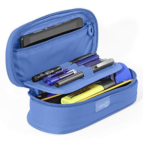 PracticOffice - Estuche Multiuso Megapak Oval para Material Escolar, Neceser de Viaje o Maquillaje. Medida 22 cm. Color Azul Claro