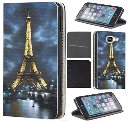 KX-Mobile Hülle für Samsung A51 Handyhülle Motiv 394 Eifelturm Paris Frankreich bei Nacht Blau Gelb Premium aus Kunstleder Beidseitig Bedruckt HandyCover Handyhülle für Samsung Galaxy A51 Hülle