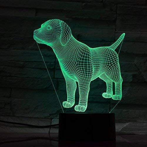 Puppy Dog 3D Illusion Lamp, LED Night Light Table Desk Decor, 7 Colors Touch Control USB Powered Magical 3D Visual Lamp for Home Decoration Xmas Birthday Gifts