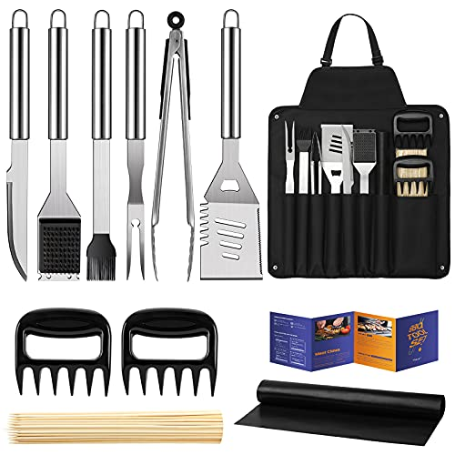 Veken BBQ Grill Accessories, Grill Utensils Set, 16 Inches Stainless Steel BBQ Tools Set for Men & Women Grilling Accessories with Storage Apron Gift Kit for Camping Backyard Barbecue