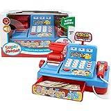 Juego de caja registradora de juguete de simulación, juguete clásico con sonido, cajón, escáner, tarjeta de crédito, regalo preescolar para niños, edades 3 4 5 6 7