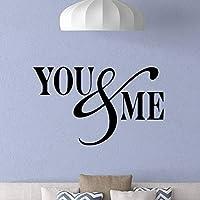 あなたと私は壁デカール愛ステッカー家族引用ビニール壁ステッカー家リビングルームロマンチックな男の子の女の子の寝室の装飾95X57cmに署名