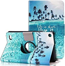 Kindle Fire 7 Case Kindle Fire 7 Cover Genuine PU Leather Flip Case Cover for Amazon Kindle Fire HD 7 2015 Table 360 Rotation Standing Anti Choc Protective Bumper (Sky Blue)