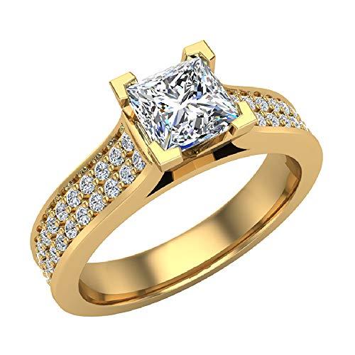 Glitz Design Mujer Niños Hombre Unisex oro 14 quilates (585) oro amarillo princess-shape round-brilliant-shape G-H Diamond