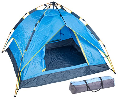 Semptec Urban Survival Technology Zelt selbstaufbauend: Automatik-Kuppelzelt für 3-4 Personen, 3.000/5.000 mm Wassersäule (Automatik Zelt 4 Personen)
