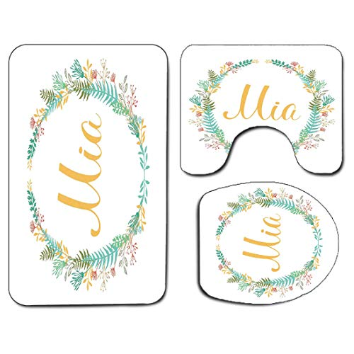 3Pcs Non-Slip Bathroom Rug Toilet Seat Lid Cover Set Mia Soft Skidproof Bath Mat Frame of Flowers and Ferns Pattern with Handwriting Calligraphy Design Cursive Alphabet,Multicolor Absorbent Doormat Be