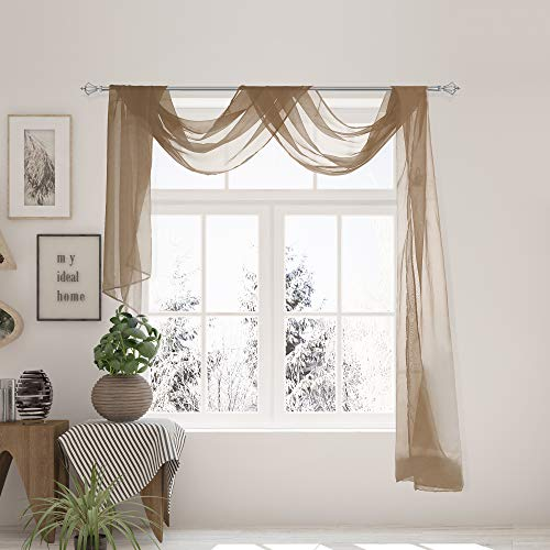 """VNKDECO Voile Sheer Valance Window Curtain Scarf 36"""" x 216"""" Long for Draping, Wedding Party Decorations, Living Room, Bedroom, Kitchen and Bed Canopy Scarves (1 Scarf: 36"""" x 216"""", Taupe)"""