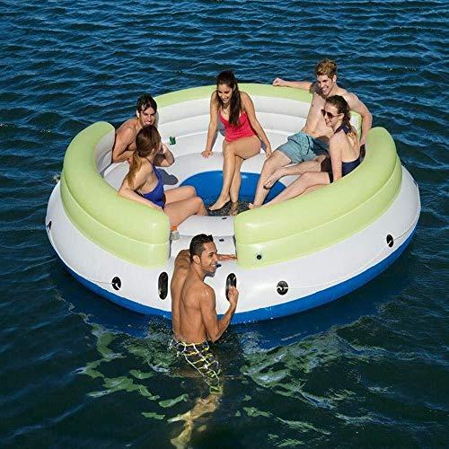LCSD Juguetes inflables de la Piscina Nuevos Juguetes inflables de 8-10 Personas en Cama Grande Flotante de Verano, Isla Flotante de recreo en la Playa Flotante de recreo, Juguetes flotantes, reunión