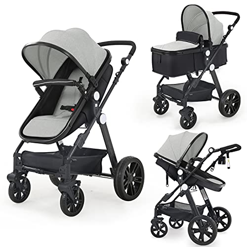 Newborn Infant Toddler Baby Stroller - Sleeping & Sitting Mode 2 in 1 All Terrain High Landscape Shock Absorption Sunshade Comfortable Baby Car for 0-36 Months Old Babies (Gray)