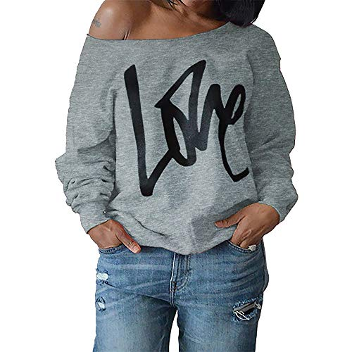 Ulanda Women's Sexy Off Shoulder Oversized Pullovers Sweatshirts Love Print Slouchy Tops Plus Size Grey