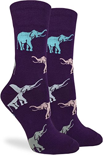 Good Luck Sock Women's Purple Elephants Crew Socks - Purple, Adult Shoe Size 5-9