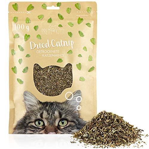 PRETTY KITTY Katzenminze getrocknet 100g: Natürliche Premium Katzenminze für Katzenspielzeug und als Anregung – Schonend getrocknete Katzenminze – Katzenminze Pflanze getrocknet, Getrocknete Minze