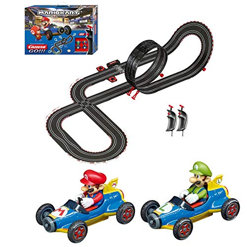 Carrera GO!!! 62492 Mario Kart Mach 8 Electric Powered Slot Car Racing Kids Toy Race Track Set Includes 2 Hand Controllers featuring Mario versus Luigi in 1:43 Scale,Multi