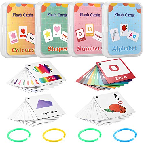 Outus Flash Cards Set of 4, Numbers, Alphabets, Colors and Shapes, 100 Cards with 200 Pictures, Educational Learning Flashcards for Educational Toys