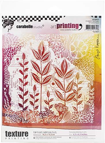 Carabelle Studio Art Printing Rubber Texture Square Stamp, Garden, for Gel Monoprint Plates