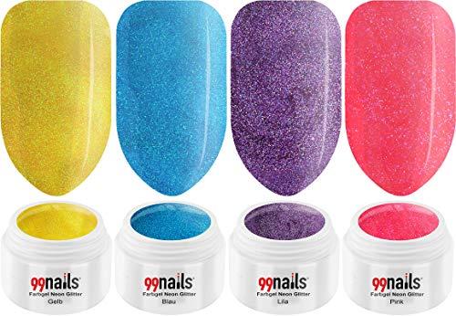 99nails Lot de 4 flacons de gel UV à paillettes fluo 5 ml