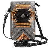 Urban Tribal Pattern Aztec - Bolso bandolera para teléfono celular, diseño de hormigón y madera, para mujeres y niñas con práctico transporte