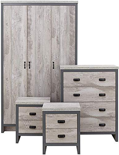 4-Zimmer-Suite - Kleiderschrank, Kommode, Nachttisch,Grey