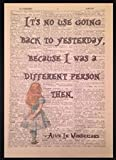 Parksmoonprints Alice in Wonderland Quote Vintage Dictionary Book Page Print Wall Art Picture