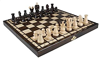 Wooden Chess Set - King Style, 12x 12 inches. Each Felt-Bottomed Piece is Hand Carved of Seasoned Sycamore, Stylized, and ...