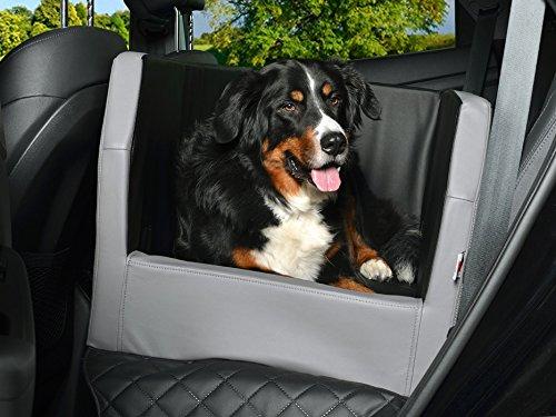 PadsForAll Auto Hundebett, Rücksitz Schutzdecke, Autoschondecke, auch in visco elastisch   schwarz-Silber