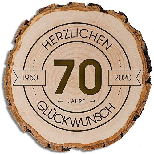 DARO Design - Baumscheibe mit Rinde und Gravur Größe S 16-19cm - 70 Jahre Herzlichen Glückwunsch - Geschenk zum Jubiläum, Geburtstag, Jahrestag