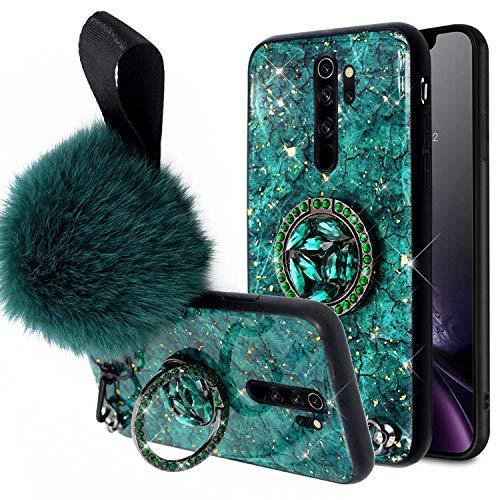 Funda Compatible con Xiaomi Redmi Note 8 Pro,Niñas Mujeres Marmol Silicona Bumper TPU Duro Híbrido Carcasa Lujo Purpurina Bling Glitter Diamantes Soporte de Anillo Bola de Pelo Anti-caída Case,Verde