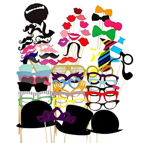 58Pcs Colorful Kit Photo Booth Props DIY pour Accessoires de soirée de mariage d'anniversaire Décorations de Noël Photobooth Dress-up