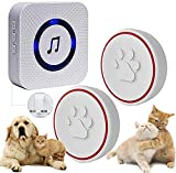 ChunHee Wireless Dog Cat Doorbell for Potty Training/Smart Buttons Door bell Chime Operating at 500Feet with 52 Melodies 5 Volume Levels LED Light Flash <span class='highlight'>UK</span>