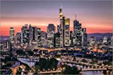 Poster 91 x 61 cm: Skyline Frankfurt am Main Sundown von