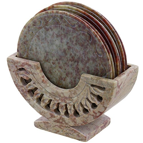 Shalinindia Diseño de Piedra diseño de Posavasos de Soporte Mesa de Comedor de café