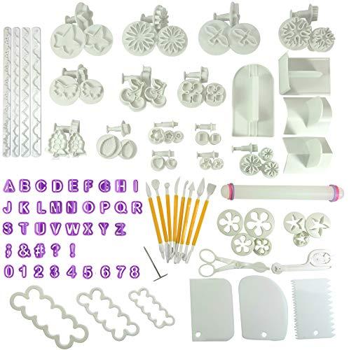 Wenburg Fondant Ausstecher Set Maxi, 117 Teile. Buchstaben, Zahlen & Ausstechformen zum Torten Dekorieren. Modellierwerkzeug Blumen Blätter...