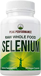 Raw Whole Food Selenium Supplement - Pure Selenium Vegan Capsules for Immune System, Thyroid Support, Heart Health, Prosta...