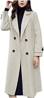 Basic Double Breasted Notch Lapel Mid-Long Wool Blend Pea Coat for Women Fankle Sale Trench Coat Jacket with Pockets
