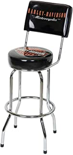 HARLEY-DAVIDSON Bar & Shield Bar Stool with Back Rest HDL-12204